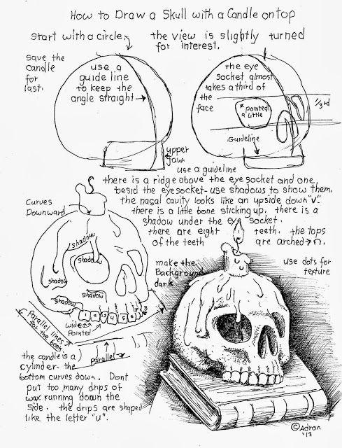 Download the project notes at the blog: http://drawinglessonsfortheyoungartist.blogspot.com/2013/10/how-to-draw-skull-with-candle-on-top.html