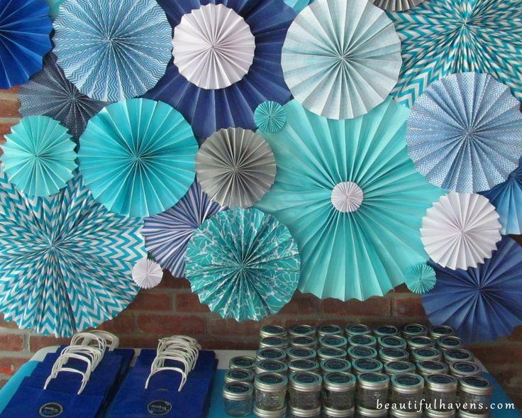something blue bridal shower. paper fan backdrop.  DIY Sugar Scrub Bar