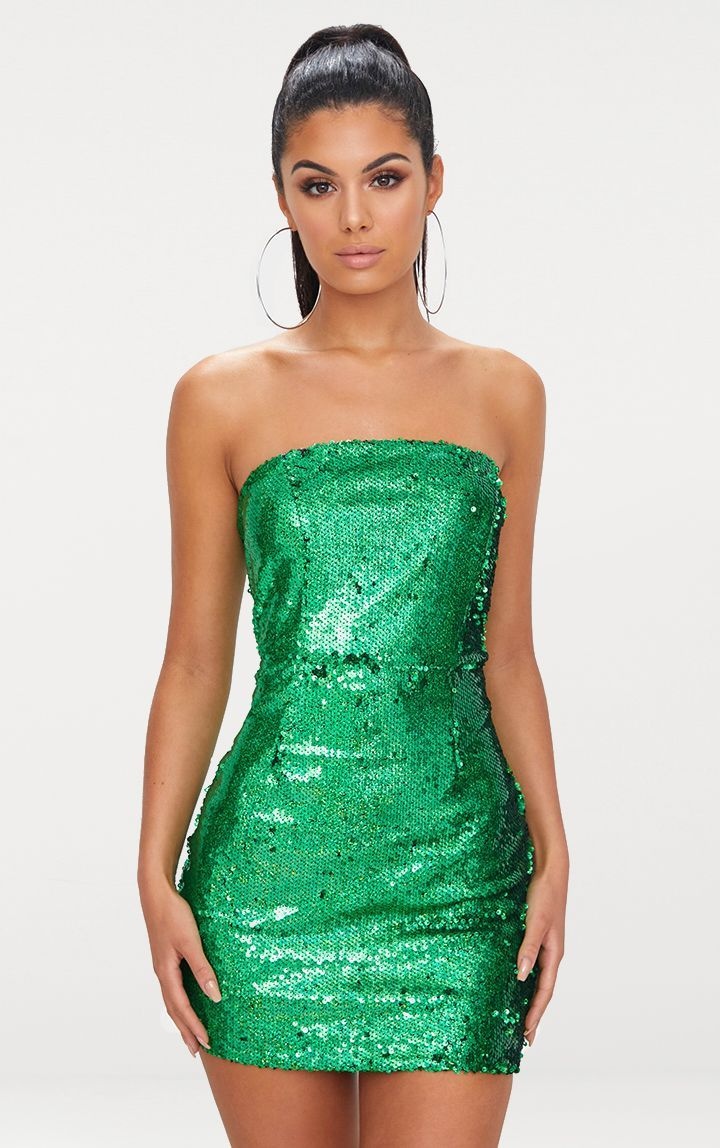 f9d28ae3957c Bright Green Bandeau Sequin Bodycon Dress | 2K19 Playlist in 2019 ...