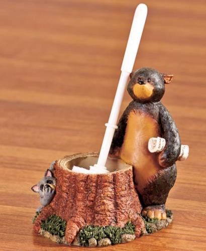 Toilet Brush Holder Nature Calls Outhouse Cabin Lodge Country Bear Raccoon NEW
