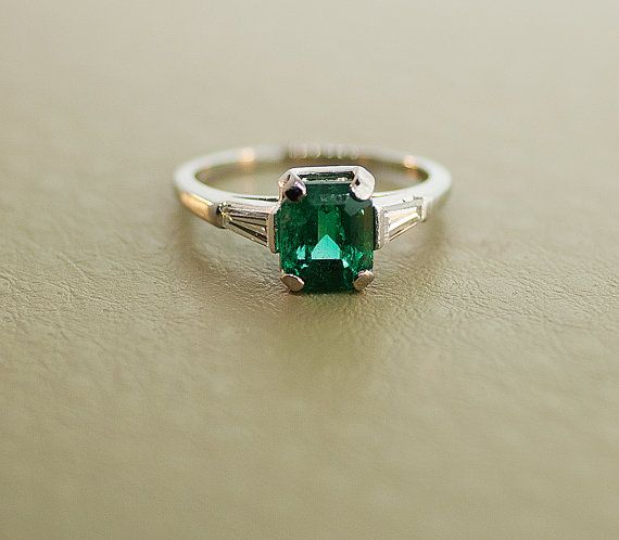 Vintage 18k White Gold Gem Quality Emerald and by SITFineJewelry.