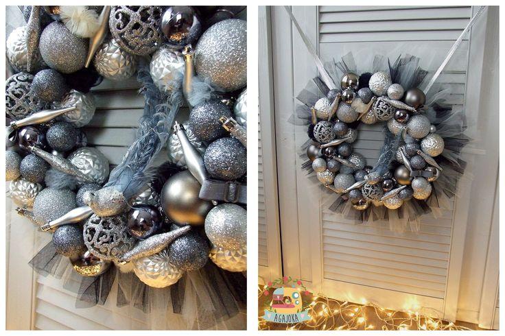 Księżycowe tutu - srebro z szarością :) Tiulowy wianek na drzwi