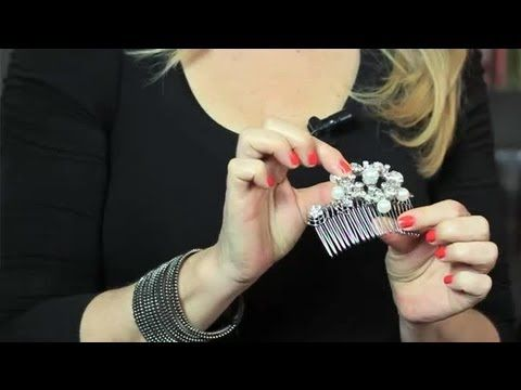 DIY Vintage Hair Combs : Bridal Hair Upstyles - Want to do this with an antique brooch
