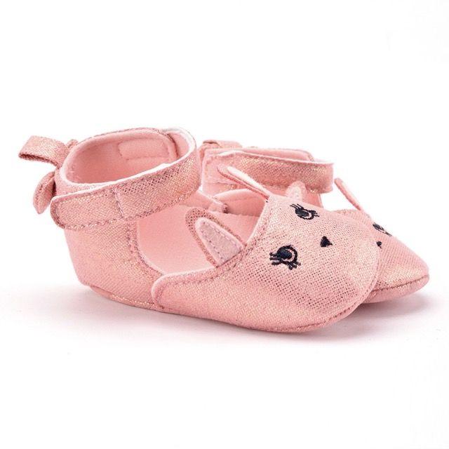 Pembe Tavşan Parlak Bebek Ayakkabı