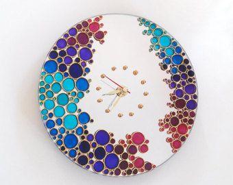 Espejo pared reloj Rainbow Bubbles mano pintado reloj de pared