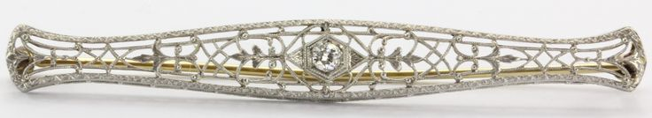 Antique Irving Heidelscheimer 14K White Gold & Old European Cut Diamond Bar Pin