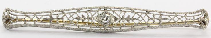 Antique Irving Heidelscheimer 14K White Gold & Old European Cut Diamond Bar Pin