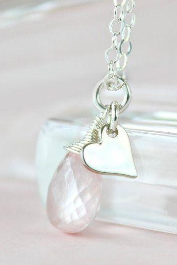 Pink Quartz Necklace, Sterling Silver Heart - A Summer Romance.
