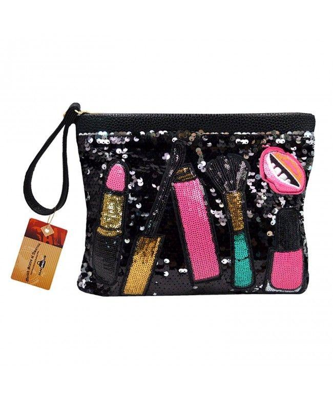 Women Fashion Sequin Evening Clutch Dazzling Patchwork Envelope Handbag  Shoulder Crossbody Bag - Black - CD185O9A8YC 007a45fdb55d