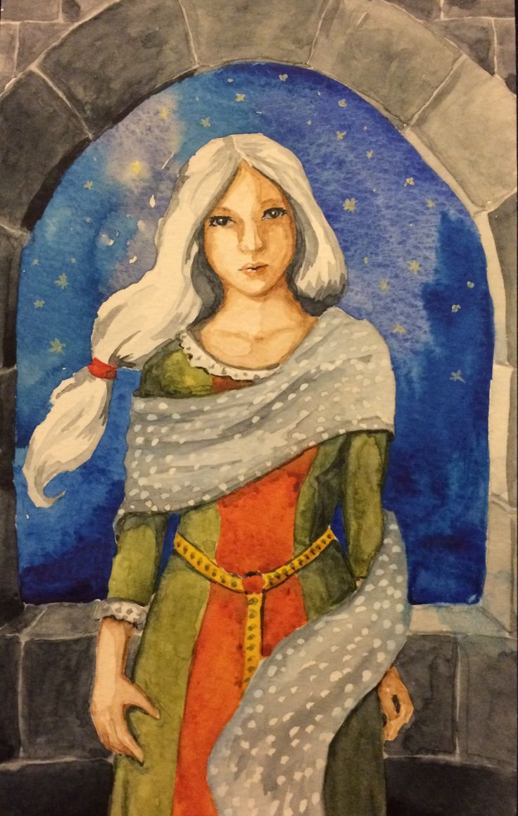 Watercolor painting Girl with stars