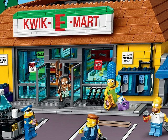 Keep your LEGO Springfielders satisfied by fulfilling all their shopping needs with The Simpsons LEGO Kwik-E-Mart. Springfield's beloved convenience store features a removable roof and comes with Chief Wiggum and his cruiser in tow to keep Snake in line.