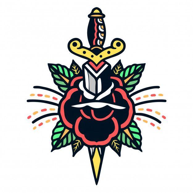 Rose und Dolch Old School Tattoo Premium Vector | Kostenlose Vector #Freepik #vector …   – Body Art
