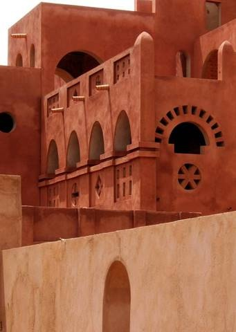 red house home, Morocco, Africa