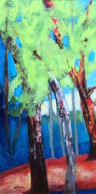 """Peinture acrylique , 'L'écho"""", oeuvre originale, paysage, forêt, arbres, décoration intérieure, tableau décoratif, design d'intérieur, art de la boutique mcfournierArt sur Etsy"""
