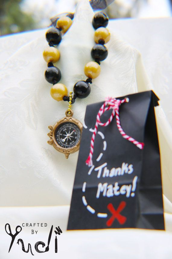 Pirate party edible gumball necklace gold and black - compass, pirate party favor, pirate party supplies