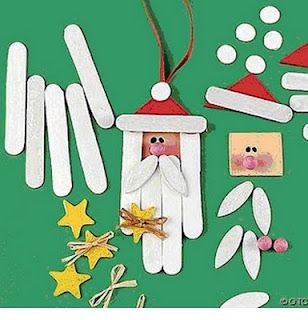 Cute Santa ornaments made from popsicle sticks.