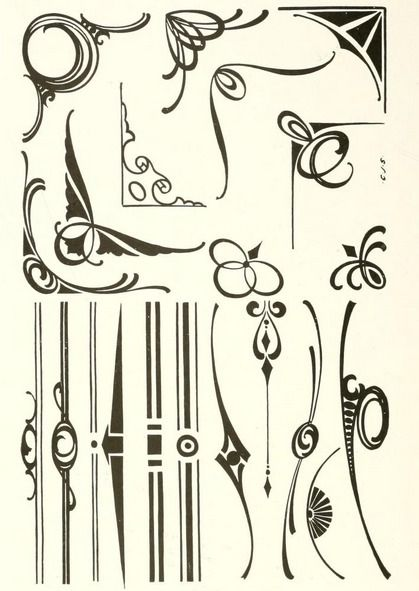 "Art nouveau borders and ornaments From the public domain ebook, ""The art of show card writing; a modern treatise covering all branches of the art ... with one hundred and fifty-three illustrations and thirty-two lettering plates, comprising all the standard ancient and modern styles (1922)."" Download in epub, kindle or PDF format here: https://archive.org/stream/artofshowcardwri00stro"