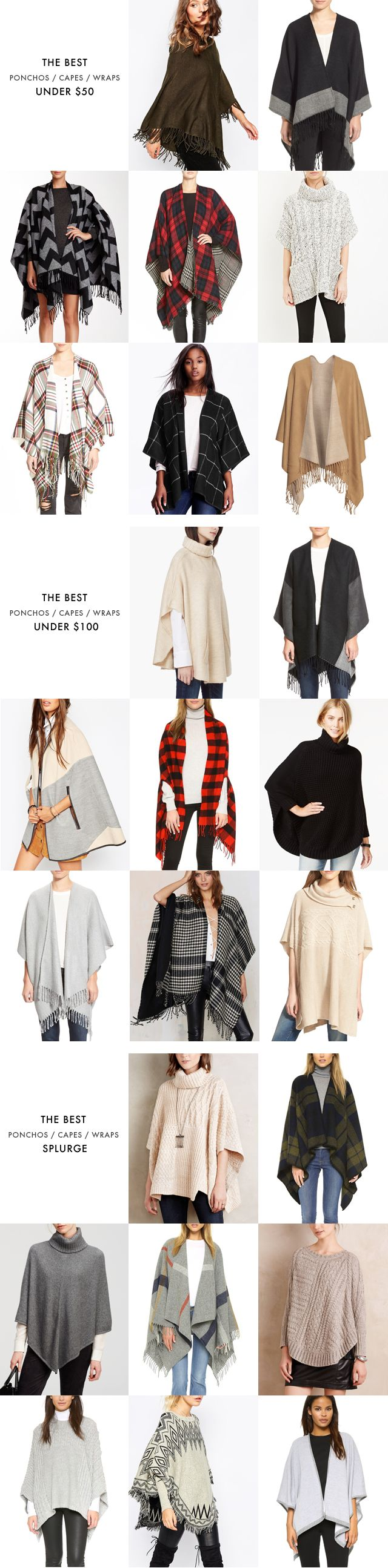 The best ponchos / capes / wraps at every price