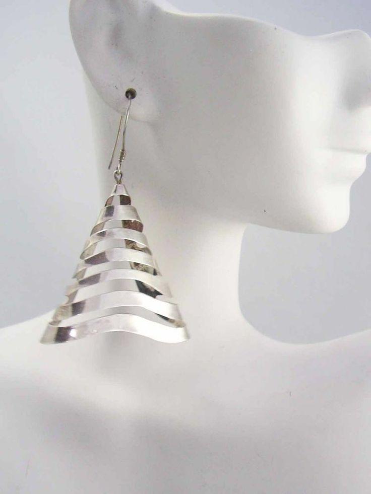 Vintage LARGE Sterling Silver 925 Geometric Pyramid Studio Designer  Earrings  #DropDangle