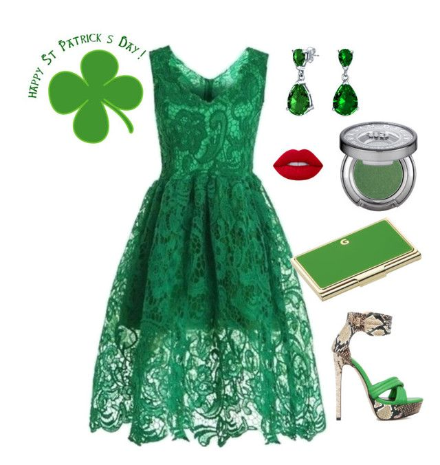 """""""St Patrick's Day"""" by lorainejh on Polyvore featuring WithChic, ShoeDazzle, Kate Spade, Bling Jewelry and Urban Decay"""