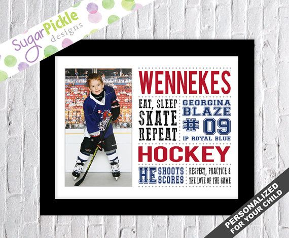 Hockey Art, Hockey Print, Personalized Hockey Subway Art, Hockey Stats Art, Hockey Gift, Team Gift, Hockey Wall Art WITH PICTURE