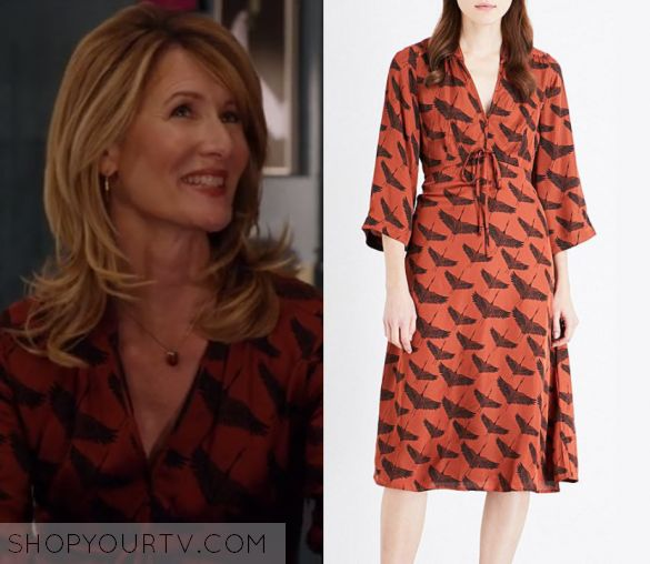 "Unbreakable Kimmy Schmidt: Season 3 Episode 3 Wendy's Orange Bird Print Dress | Shop Your TV Wendy Hebert (Laura Dern) wears this orange tie front bird printed dress in this episode of Unbreakable Kimmy Schmidt, ""Kimmy Can't Help You!"".  It is the Sandro Birdy Satin Dress."