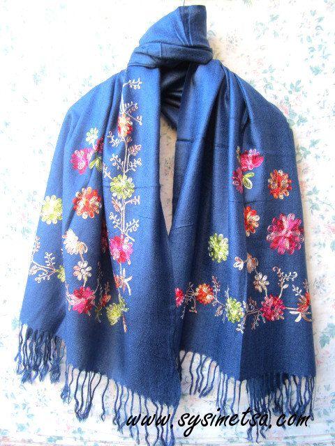 Beautiful Dark blue Embroidered Pashmina Scarf, Blue Pashmina Scarf, Soft & Warm Pashmina Scarf, Pashmina, Flower Pashmina, BlueScarf