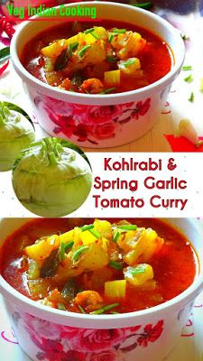 Kohlrabi Spring Garlic Tomato Curry Today I'm going to share recipe of one more winter special vegetable - Kohlrabi. Sharing Kohlrabi Spring Garlic Tomato Curry with step by step photos.  The common names of kohlrabi are German Turnip, cabbage, turnip, Knol-knol, Ganth Gobhi (गांठ गोभी),  ganthi Kobi,   #kohlrabi #Germanturnip #turnip #indianrecipes #indiancuisine #indianfood #foodblogger #vegetarian #winterspecial #knolknol