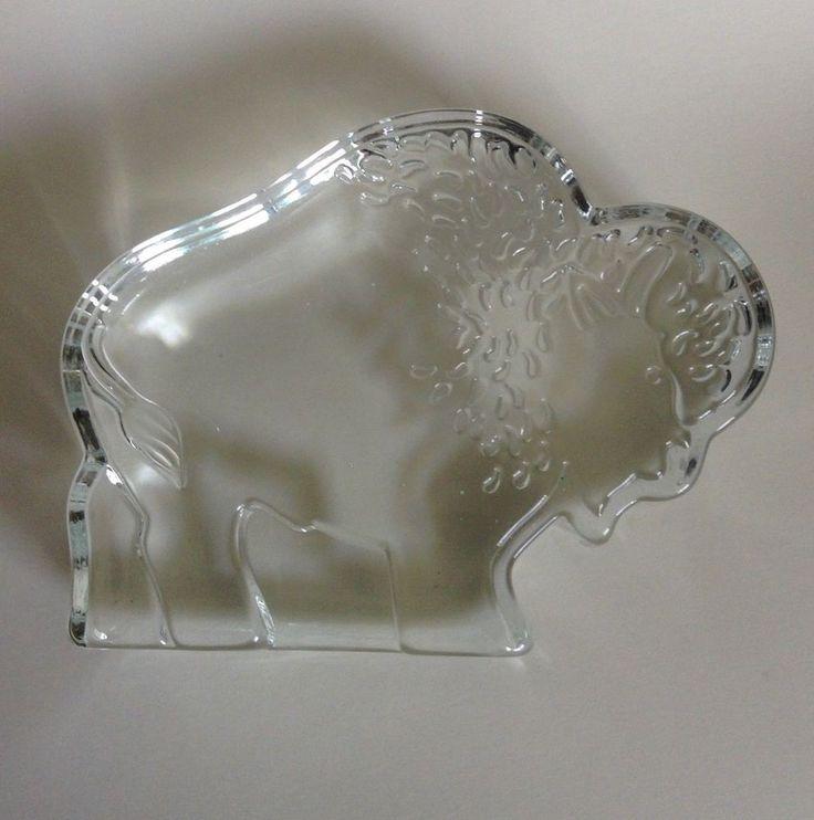 Modernist Flat Glass Buffalo Bison Standing Sculpture Standing Paperweight #Modernist