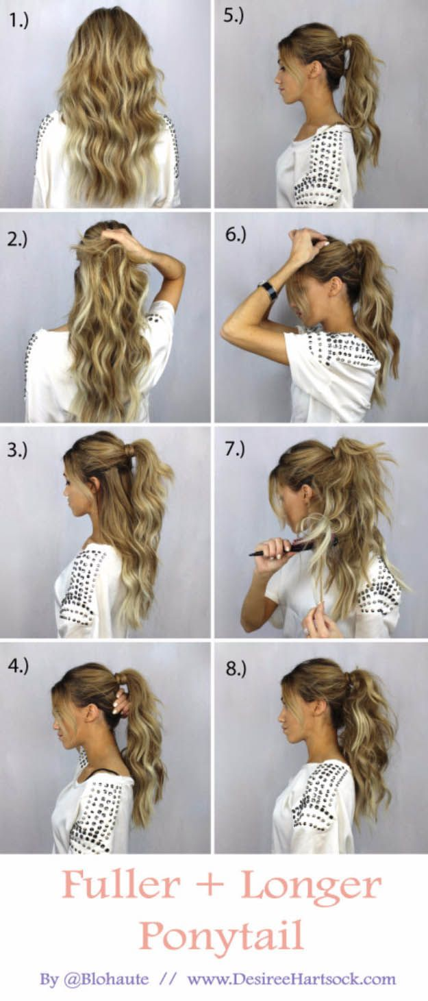 Glam Ponytail Tutorials - How To Create A Fuller + Longer Ponytail - Simple Hairstyles and Pony Tails, Messy Buns, Dutch Braids and Top Knot Updo Looks - With and Without Bobby Pins - Awesome Looks for Short Hair and Girls with Curls - thegoddess.com/glam-ponytail-tutorials