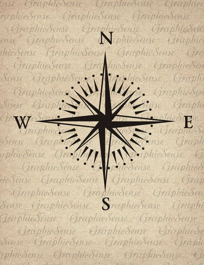Mariner's Compass - Printable Graphics Digital Collage Sheet Image Download Iron on Transfer Fabric Paper Glass Orn34 by GraphicSense on Etsy