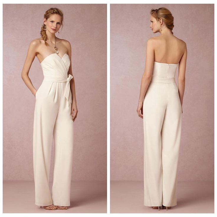Unique Ivory Chiffon Reception Jumpsuit For Bridal Wedding After Party Reception Dresses With Side Pockets Removable Sash