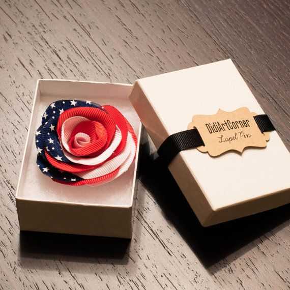 4th of July American Flag Rose Lapel Pin /Independence Day Lapel Pin/ lapel pin flower/ US flag rose