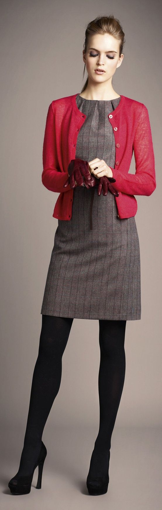 Red Cardie with Grey Sheath and Black Tights