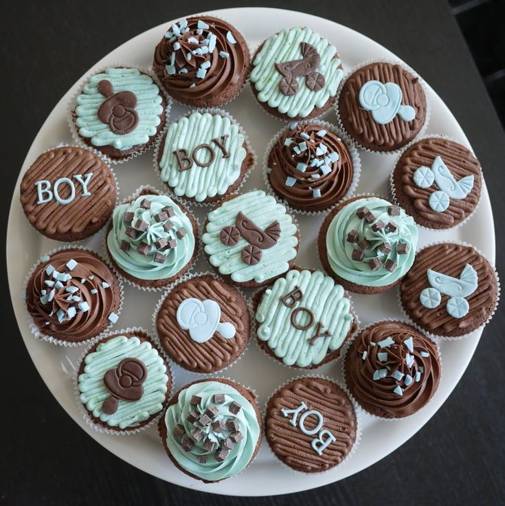 its a boy shower cupcakes l the baby carriage pacifier design