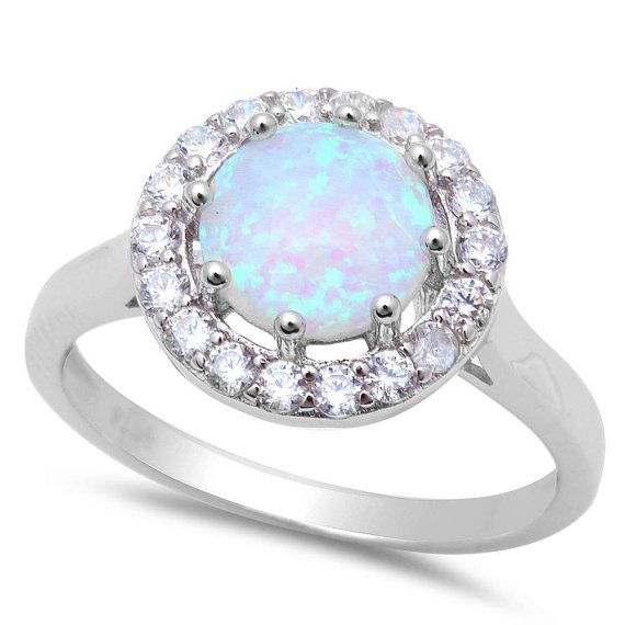 Halo Solitaire Accent Wedding Engagement Anniversary Ring Solid 925 Sterling Silver 2.04 Carat Round Lab Created White Opal Russian CZ Gift