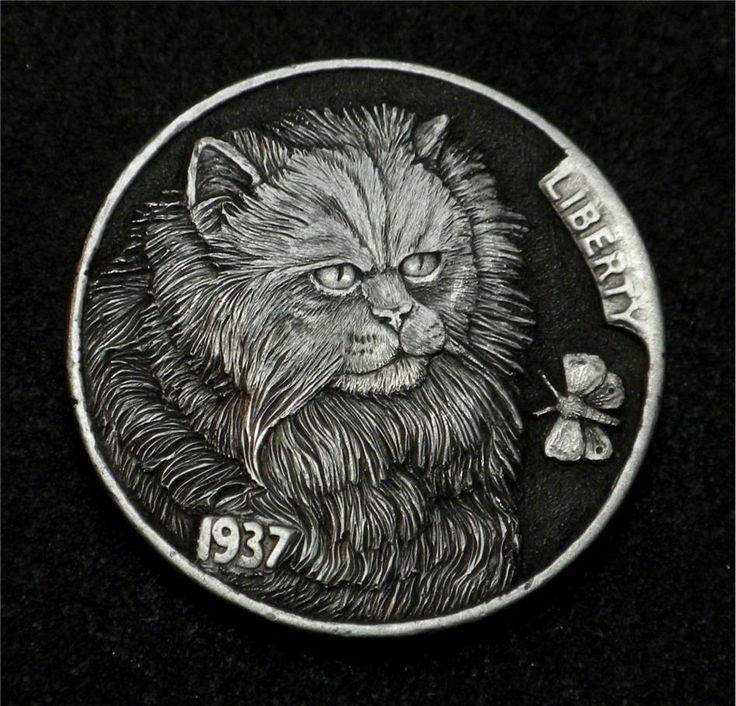 """Hobo Nickel """"Grabbing A Midnight Snack""""  Cat Kitten Coin by Howard Thomas"""