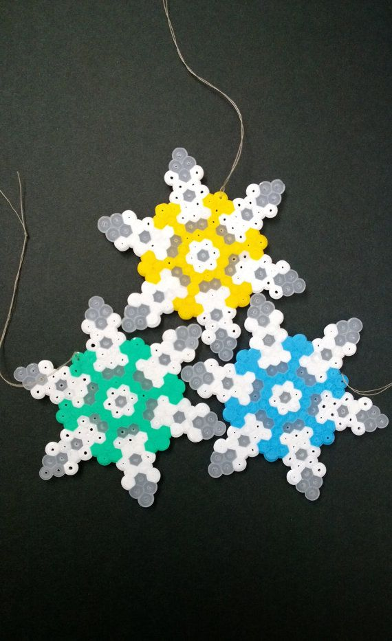 Snowflakes ornaments hama perler beads by KimsHandmadeCave