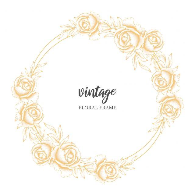Golden Vintage Floral Circle Frame With Rose Flower Bouquet Vintage Floral Backgrounds Watercolor Floral Wedding Invitations Floral Background