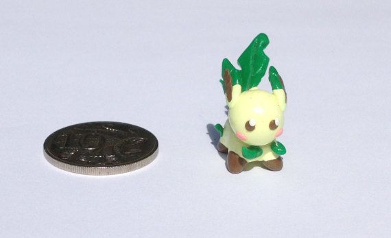 Leafeon polymer clay figurine by PolymerParrot on Etsy