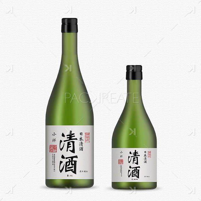 Sake Bottle Mockup – green glass