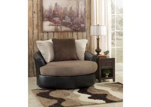 RED HOT DEAL ALERT: Masoli Mocha Oversized Swivel Accent Chair,Benchcraft