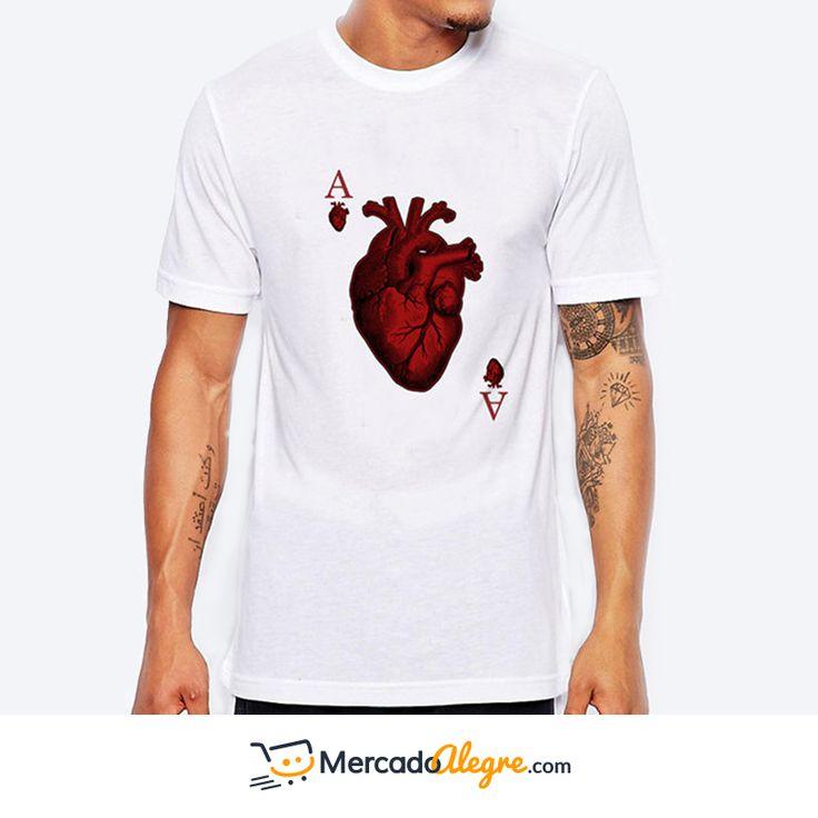 Las camisetas estampadas pueden combinarse con todo. Con chaquetas de jean, pantalones de vestir, sobretodo, cardigan, tirantes, o cualquier complemento que caracteriza tu estilo. Esta camiseta es básica y diferente a la vez con el estampado llamativo de un corazón anatómico. Si deseas saber el precio y talla, comunicate al: +57 300 8004315 #Colombia #Compras #Medellin #Mercado #Bogota #Cali #Moda #Ropa #Ventas #Mercado #Alegre #Pereira #SantaMarta #Barranquilla #vistealamoda