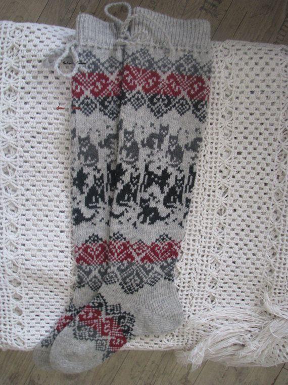 long socks. knit socks. Wool socks with cats by WoolMagicShop