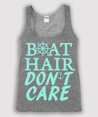 This Heather Gray 'Boat Hair Don't Care' Tank - Toddler & Girls is perfect! #zulilyfinds