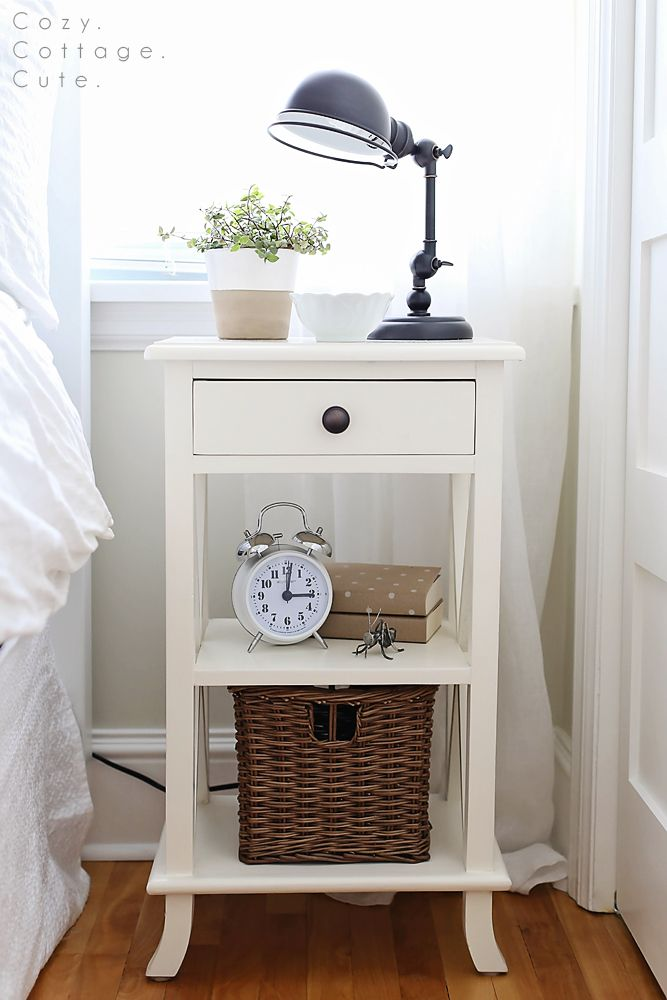 Mini Task Lamps for the Master Bedroom. Love this nightstand styling idea.