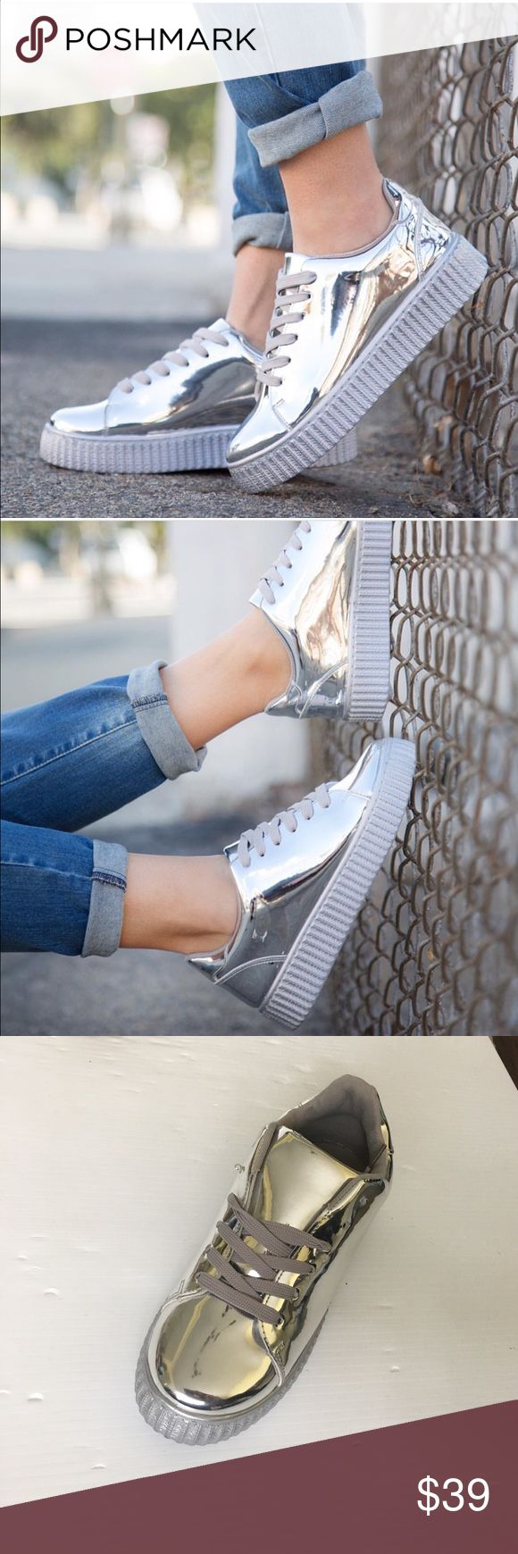 Silver sneakers New.. silver sneakers.. fits true to size NO TRADES OR HOLDS Shoes Sneakers