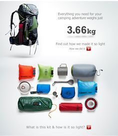 Everything you need for just 3.66 kg... I love my Osprey pack! I have the Exos 58... Camping & Hiking - http://amzn.to/2iquzg5
