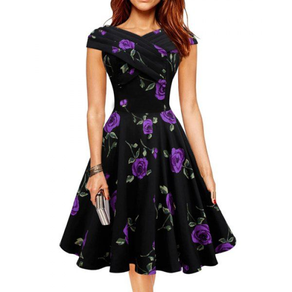 $17.99 Retro Style V-Neck Rose Print Short Sleeve Ball Dress For Women