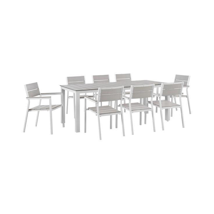 Maine 9pc Rectangular Outdoor Patio Dining Set - Light Gray - Modway